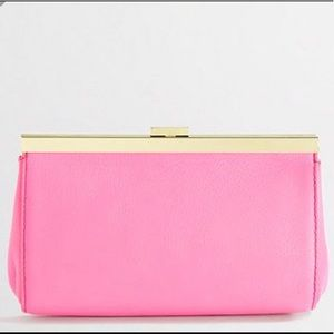Neon pink and gold j crew clutch